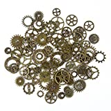 BODYA 20 Gram Assorted Antique Steampunk Gears Charms Pendant Clock Watch Wheel Gear Crafting Jewelry Making Accessory Bronze