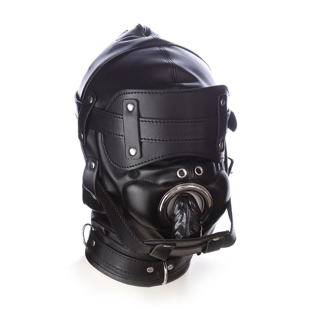 Amazon.com  YiFeng Leather Bondage Gimp Lockable Blindfold   Dildo Penis  Mouth Gag Head Fetish Hood with 2 Nose Holes BDSM Mask Hood (Black)  Health  ...