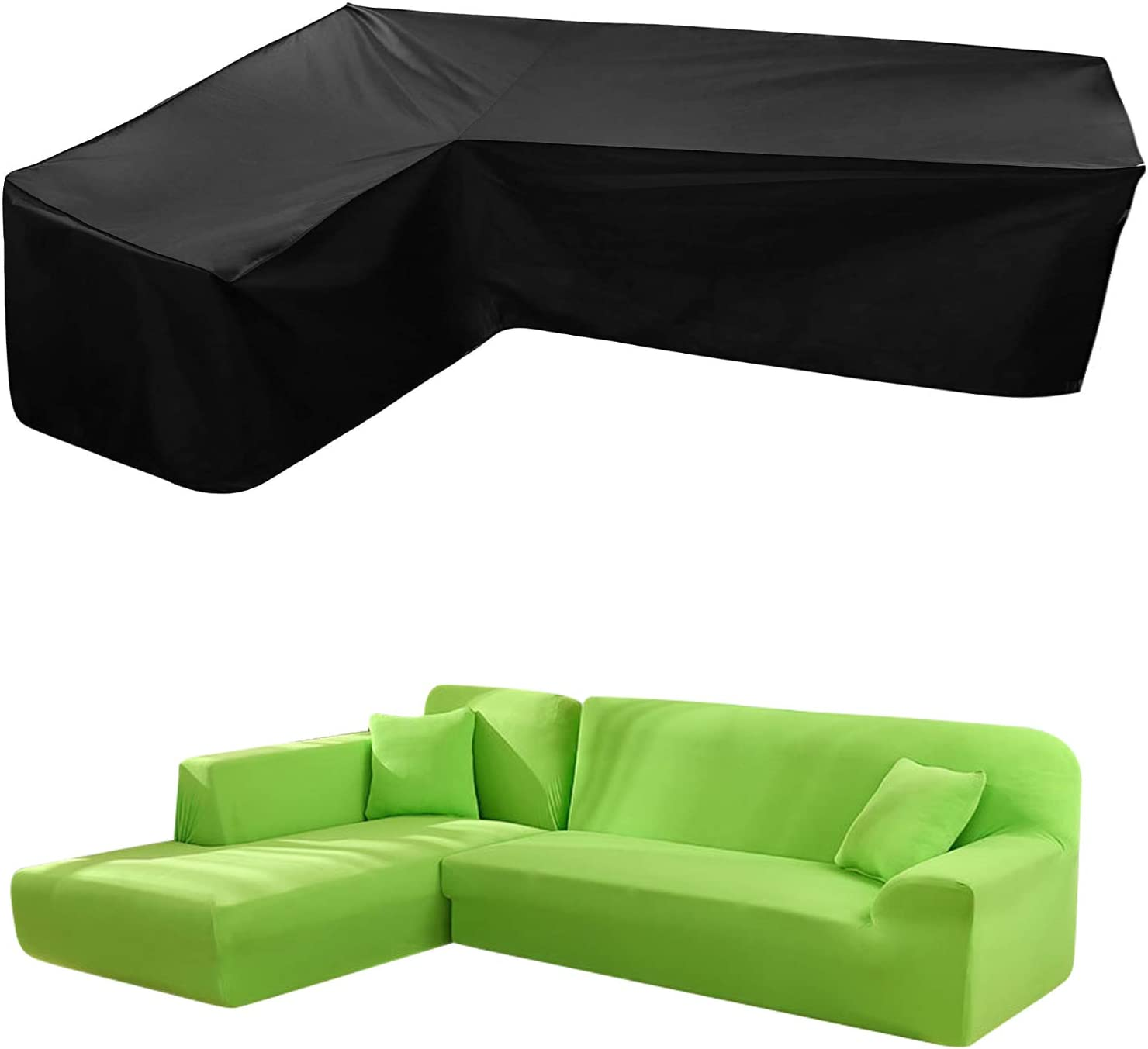 DatingDay V Type Outdoor Sofa Cover,L Type Outdoor Combination Furniture Cover, Polyester 420D, Good Waterproof Effect, 85