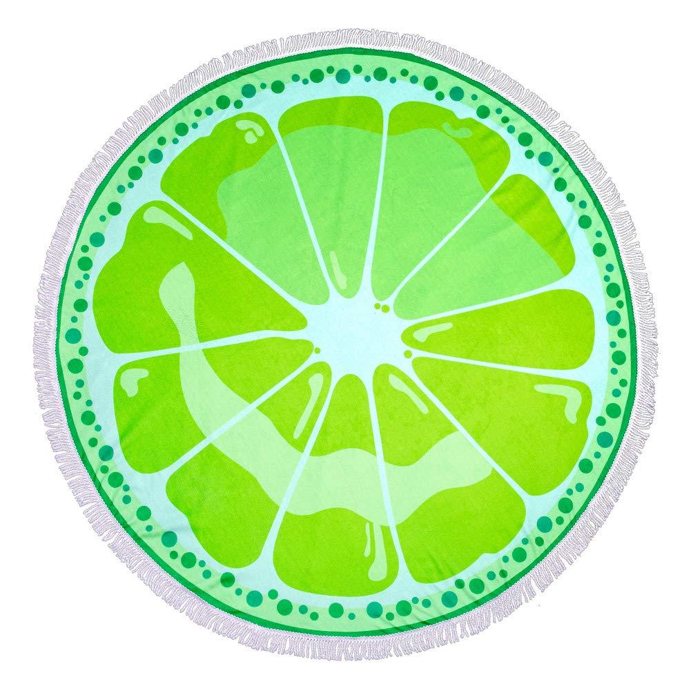 FLY SPRAY Round Carpet Oversized Thick Blanket Tassels 59'' Creative Fruits Theme Pattern Printing Ultra Water Absorbent Muti-Purpose Soft Microfiber Beach Towel Camping Picnic Vacation Mat Lemon