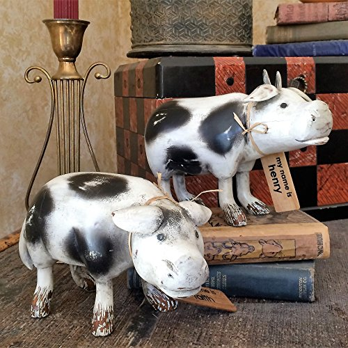 ntage Hand Crafted Black and White Cows 2 Piece Carved Bamboo Root Figurine Set with Whimsical Name Tags (Vintage Horse Figurines)
