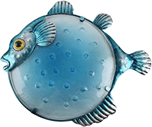 Liffy Metal Puffer Fish Wall Art Outdoor Hanging Decor Glass Ocean Sculpture for Bathroom, Pool or Patio