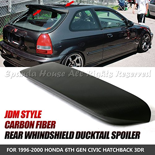 Style Spoon Carbon Civic - For 96-00 Civic 3-DR Hatch Carbon Fiber Jdm Rear Trunk Spoon Style Spoiler Wing