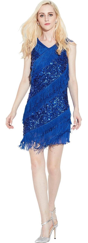 Yi Heng Mei Women's High Neck Sequins Tassel Sleeveless Party Stage Mini Dress