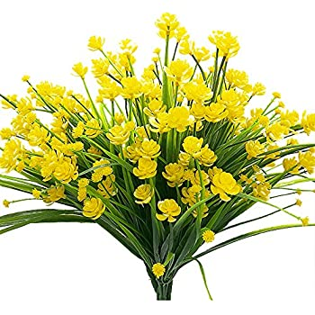 Amazon bakaa artificial flowers outdoor yellow calla lily fake artificial fake flowers 4 bundles outdoor uv resistant greenery shrubs plants indoor outside hanging planter home garden dcor mightylinksfo