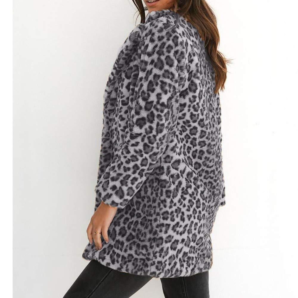 Cappotto Lungo Stampa Leopardo Donna,MEIBax Cappotto Caldo Invernale Moda Cappotto chimono Camicetta Tops,Manica Lunga,Capispalla Giacca Maglione