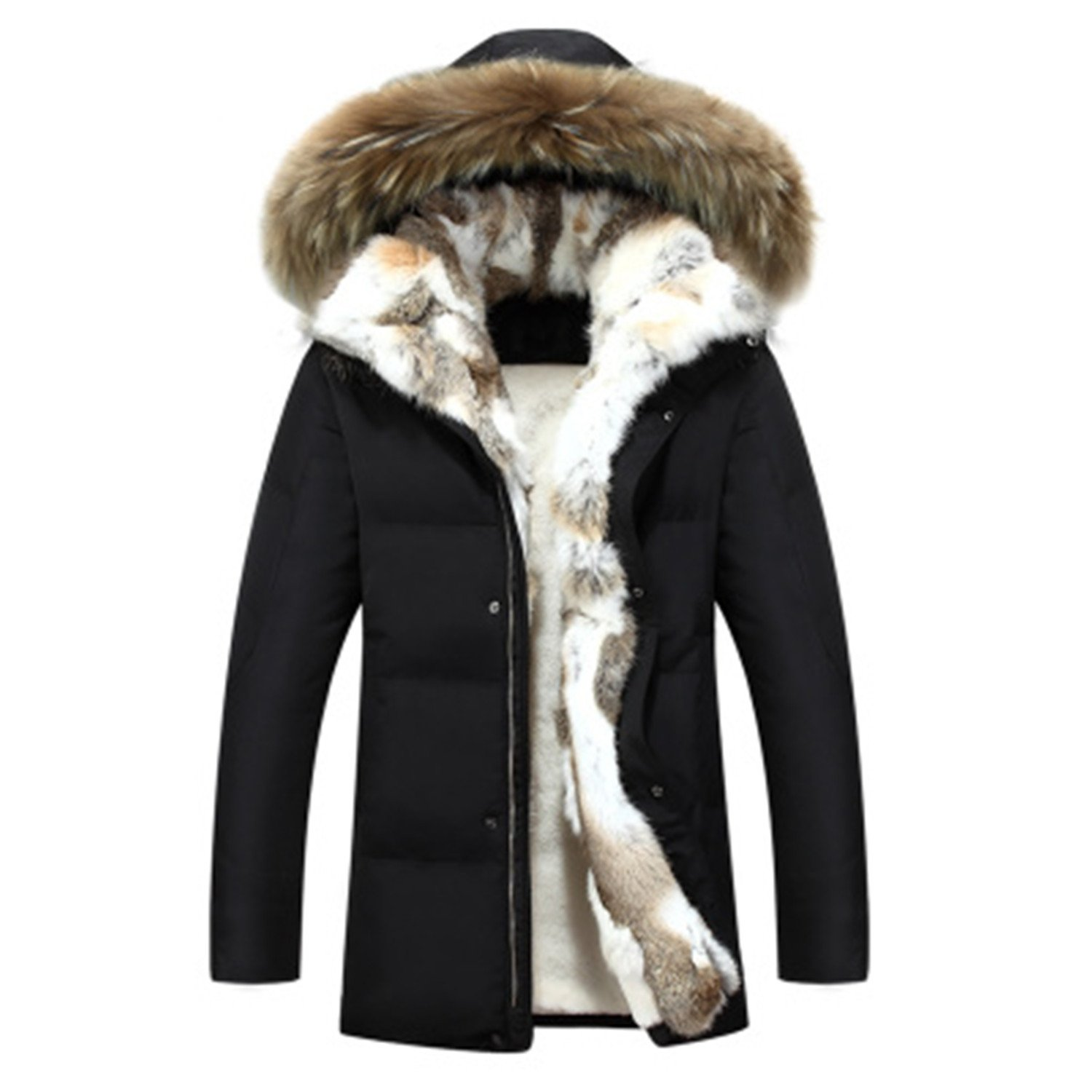 Also Easy Men's and Women's Leisure Down Jacket Thick Hood Detached Warm Waterproof Big Raccoon Fur Collar For -30 degrees Black M