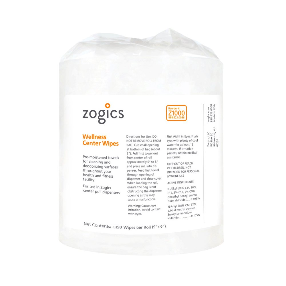 Zogics Wellness Center Heavy Duty Gym Equipment and Surface Cleaning Wipes (2 Rolls, 2,300 Wipes) by Zogics (Image #3)