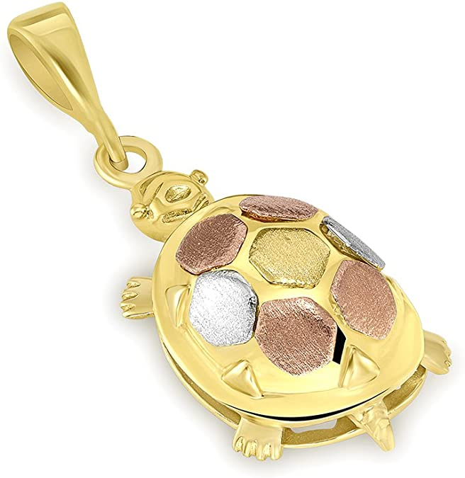 14K Tri-Color Gold Fancy Turtle Charm Animal Pendant Necklace 16 JewelryAmerica Ar-72908-pn-16