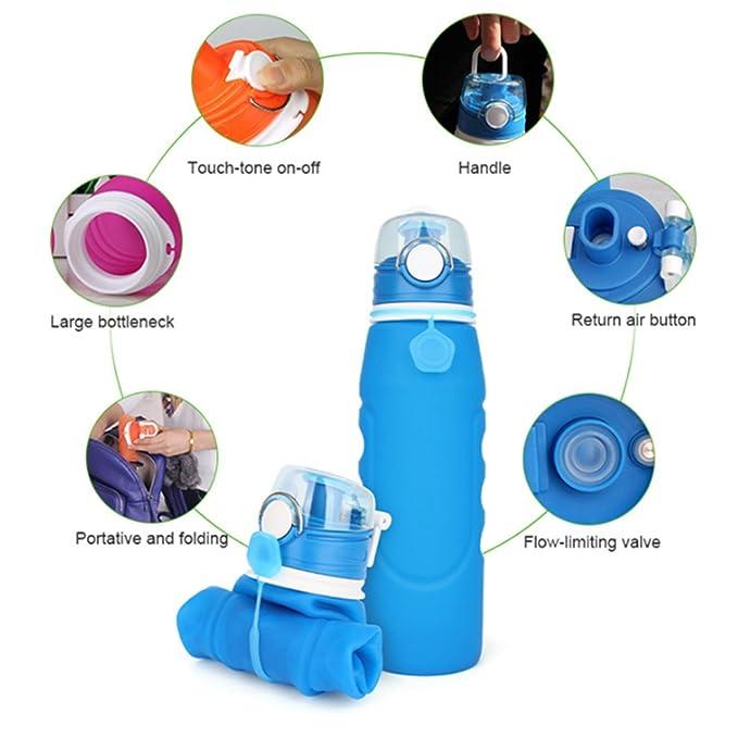 Hochklappen Wasser Flasche, DKY zusammenklappbar Silikon Wasser ...
