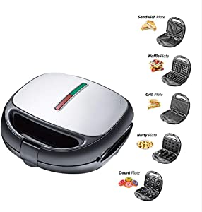 ALY 5in1 The Mini Waffle Maker Machine, with Non-Stick Removable Plates, Other on The go Breakfast, Lunch, or Snacks