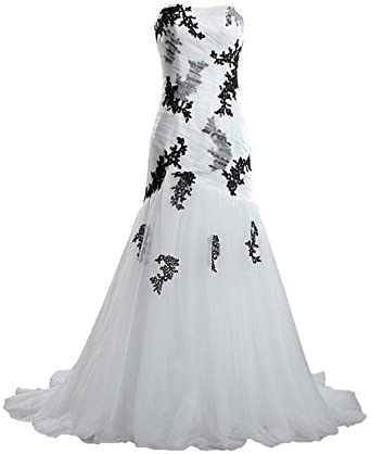 O.D.W.A-line Black White Red Gothic Wedding Dresses Vintage Bridal Gowns UK14