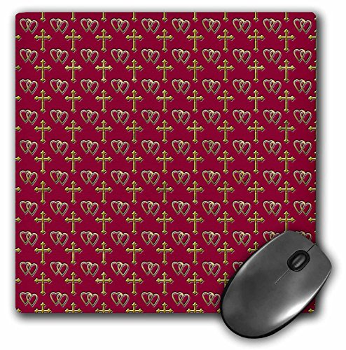 - 3dRose LLC 8 X 8 X 0.25 Inches Mouse Pad, Small Gold Entwined Hearts and Cross on Maroon or Burgundy Background (mp_35986_1)
