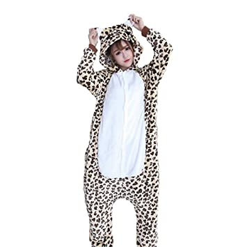 DUKUNKUN Pijamas De Adultos Oso/Pijamas De Leopardo Traje De Franela Tela Beige Juego De