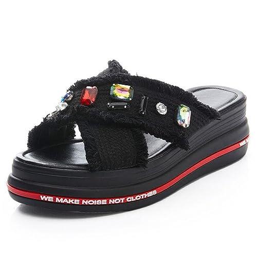 Zapatos de Tacón Grueso Parte Superior de Tela Transpirable Punta Abierta Zapatillas Hembra Verano Moda Diamante de Imitación Sandalias: Amazon.es: Zapatos ...