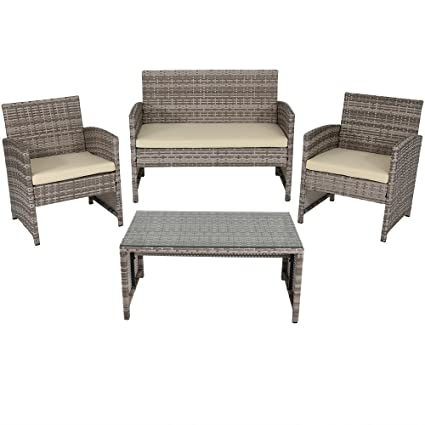 Charmant Sunnydaze Lomero 4 Piece Outdoor Lounger Patio Furniture Set With Brown  Wicker Rattan And Beige