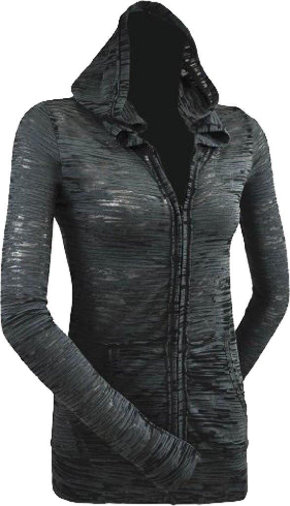 Kavio! Junior Camouflage Striped Burnout Raw Edge Long Sleeve Zip Hoodie Charcoal/Black L