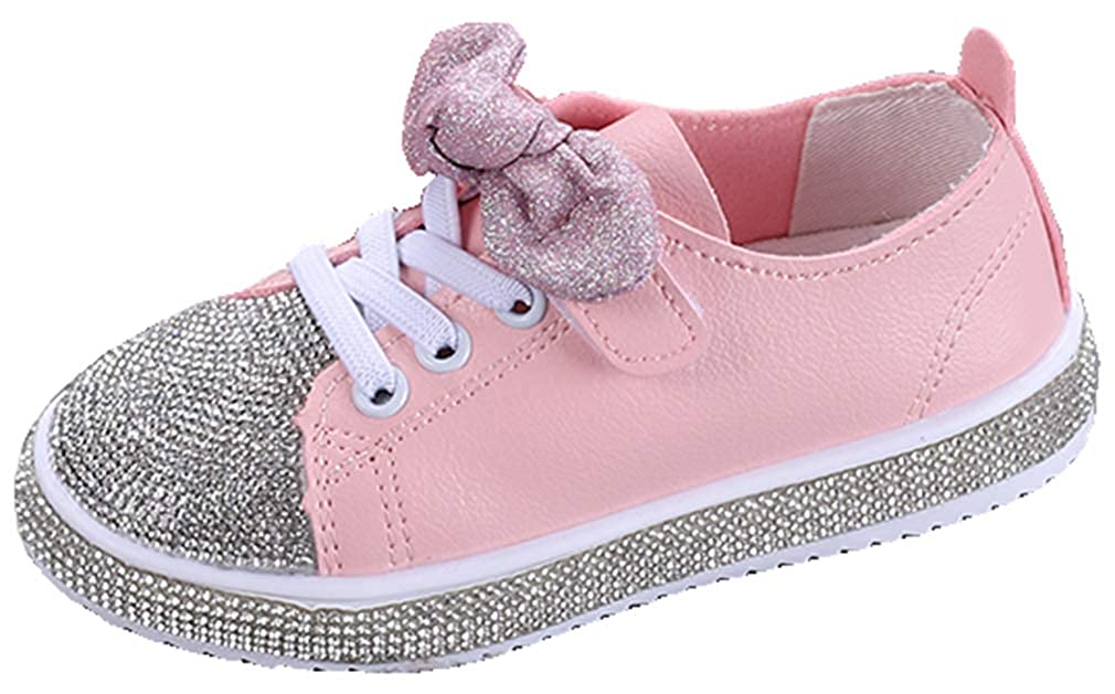 VECJUNIA Girls Glitter Rhinestones Flats with Bows Hook-and-Loop Party Shoes