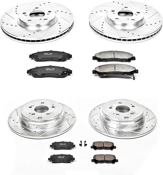 Power Stop K5922 Z23 Evolution Sport Front and Rear Brake Kit-Drilled//Slotted Rotors /& Carbon-Fiber Cermaic Brake Pads