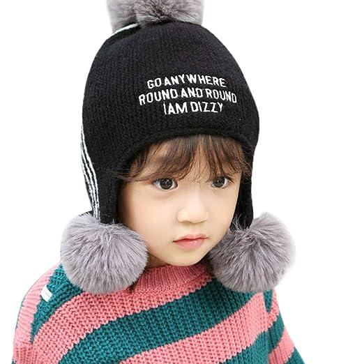 e32bcebbdf98bb KONFA Baby Beanie Cap Cartoon Pompom Letter Knitted Sherpa Hats Winter  Earflap Hat Warm 1-