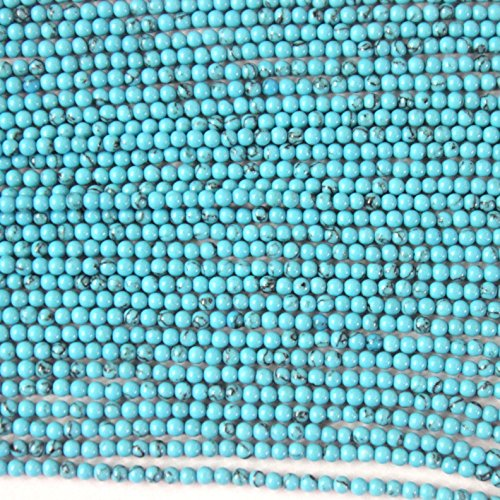 - Natural 2mm Round Gemstone Beads Jewerlry Making Findings (blue turquoise)