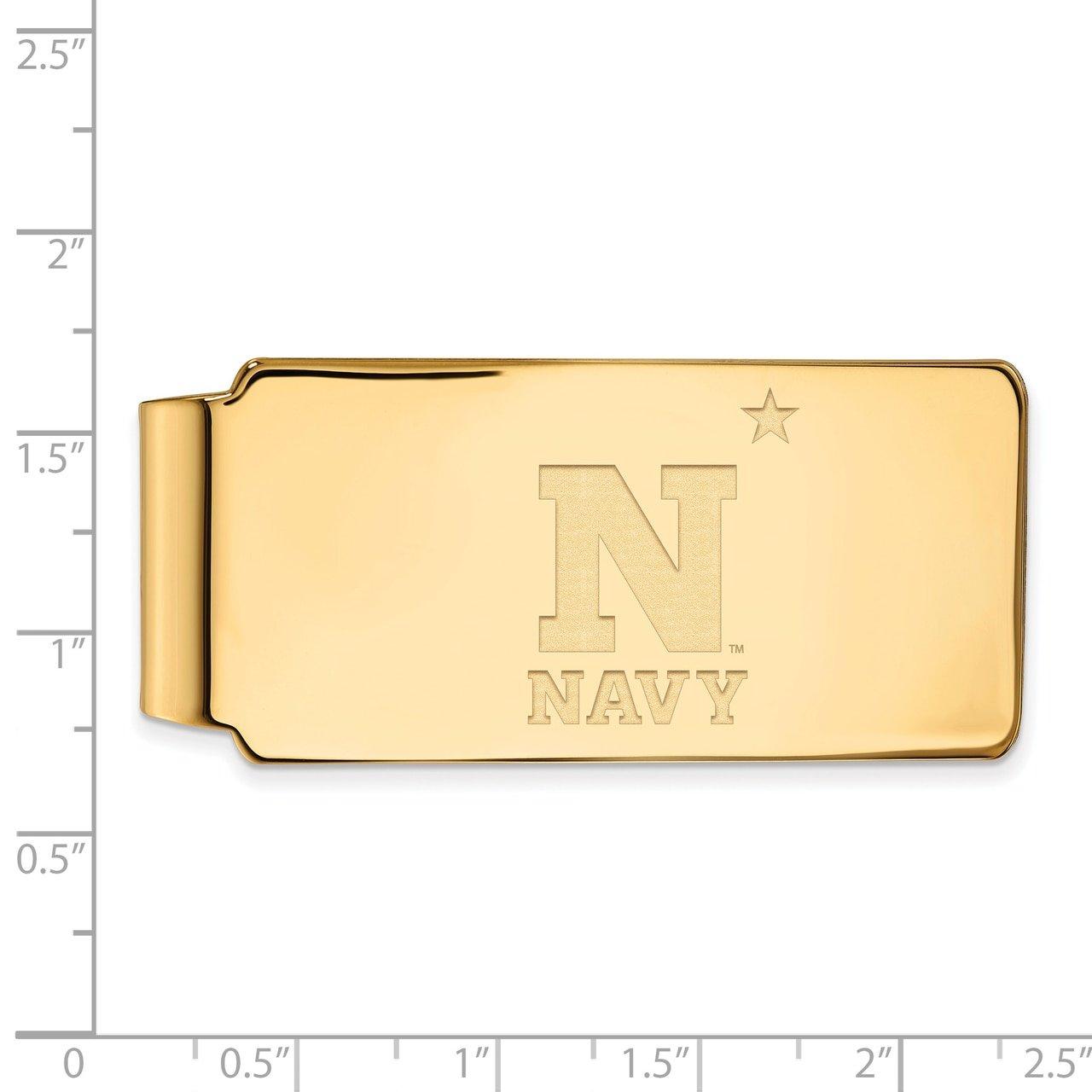 Lex /& Lu LogoArt Sterling Silver w//GP Navy Money Clip LAL138729