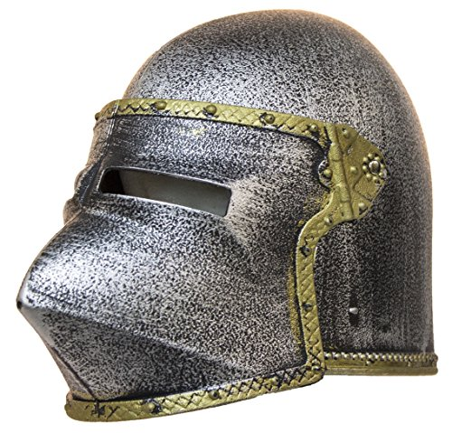 Make Knights Templar Costume (Kid's Plastic Medieval Knight Helmet w/ Flip Up Mask)