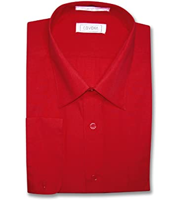 Covona Mens Solid Red Color Dress Shirt W Convertible Cuffs Sz 15 1 2