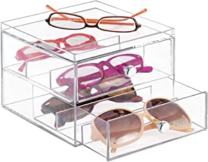 mDesign Stackable Plastic Eye Glass Storage Organizer Box Holder for Sunglasses, Reading Glasses, Accessories - 2 Divided Drawers, Chrome Pulls - Clear