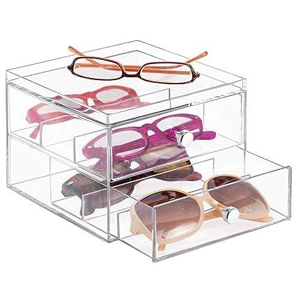 M-Design mDesign Organizador de Gafas de Sol y de Leer con 2 cajones – Cajonera de plástico para Guardar Gafas – Guarda Gafas Ideal como joyero u ...