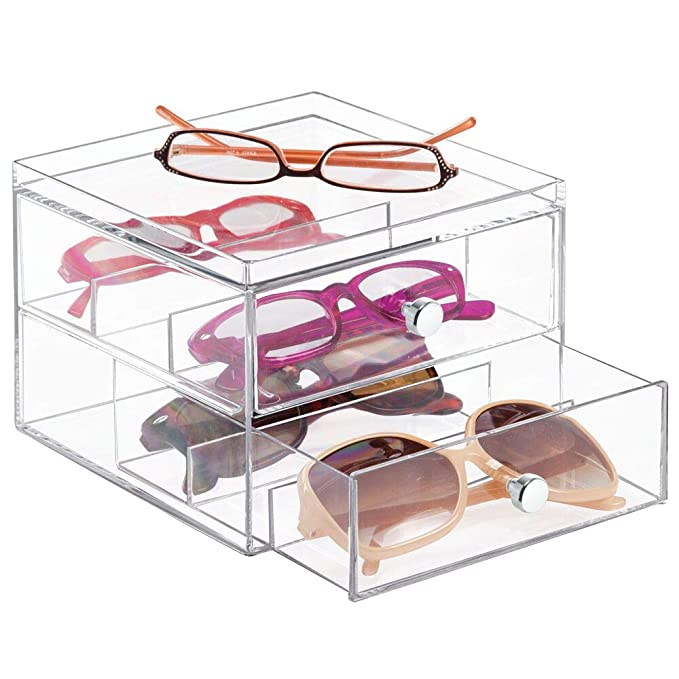 mdesign-stackable-plastic-eye-glass-storage-organizer-box-holder-for-sunglasses,-reading-glasses,-accessories---2-divided-drawers,-chrome-pulls---clear by mdesign