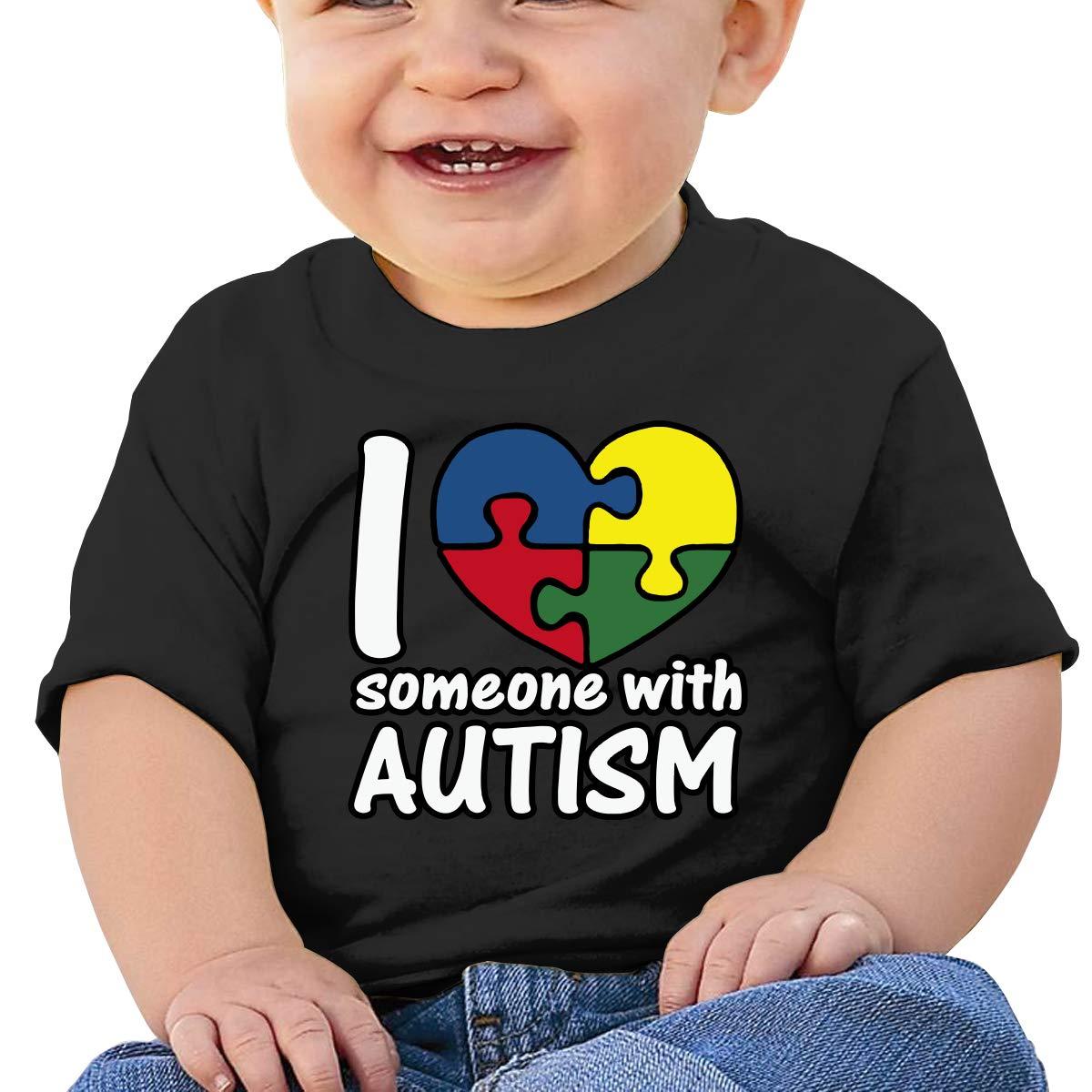 Love Someone Autism Heart Newborn Baby Short Sleeve Crew Neck T Shirts 6-18 Month Tops