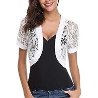 EVERICH Women Bolero Shrugs Short Sleeve Floral Lace Crop Cardigan Sheer Jackets