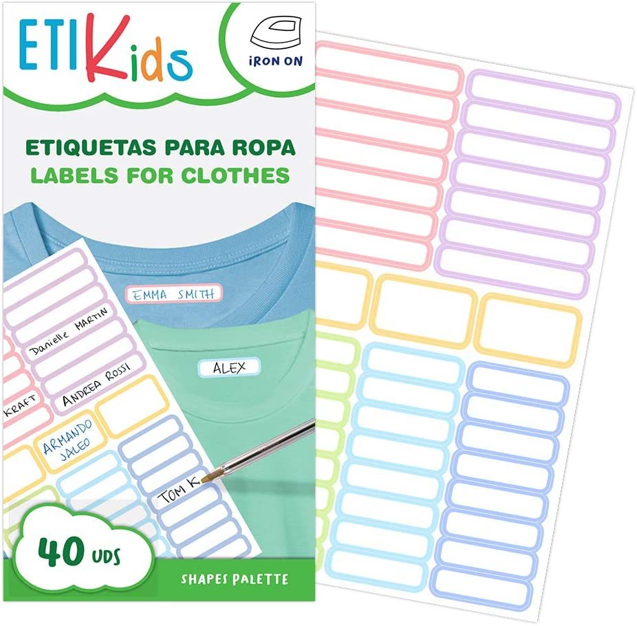 ETIKIDS 40 Etiquetas para ropa personalizables, de colores, para ...