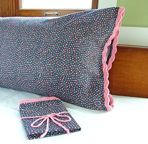 Black and Pink Pillow Cases, Crochet Pillowcase BLACK MULTI-COLOR STARS with Hand Crochet Edging, Standard Size Cotton (Crochet Pillowcase)