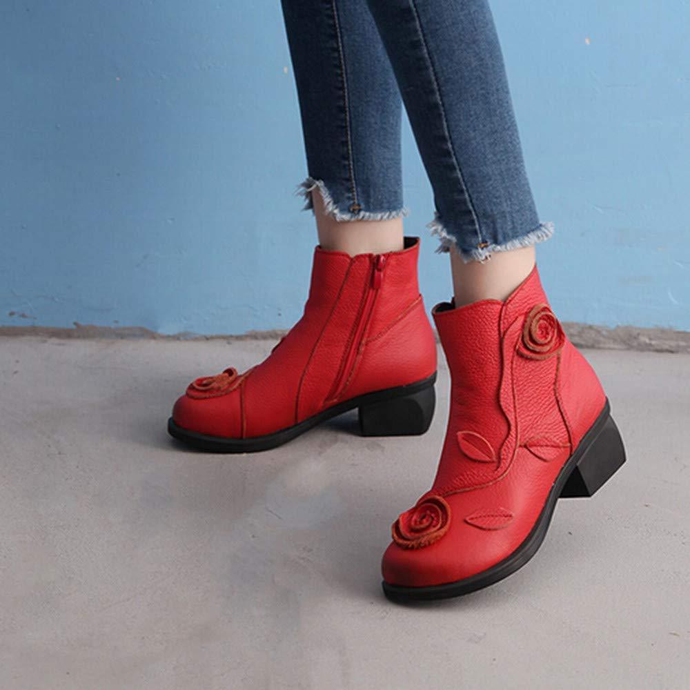 Fuxitoggo Abstand Frauenstiefel Winter Winter Winter Ethnic Style Martin Handgenähte Blaumen Leder Retro Schuhe (Farbe   Rot, Größe   UK 6.5) 3fbc30