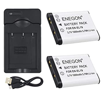 ENEGON 2 Baterías y Cargador para Nikon EN-EL19 and Nikon Coolpix ...