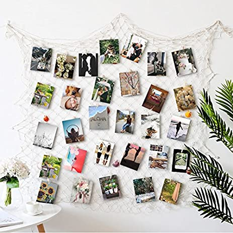 Photo Hanging display with 40 Clip by HAYATA - Fishing Net Wall Decor -  Picture Frames