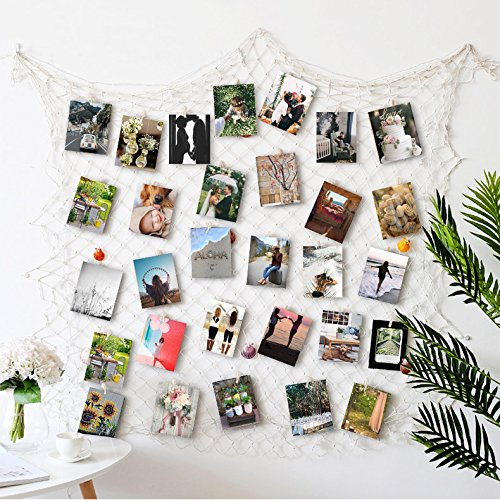 (HAYATA ⭐️Photo Hanging Display with 40 Clip Fishing Net Wall Decor - Picture Frames & Prints Multi Photos Organizer & Collage Artworks - Nautical Decorative Dorm Bedroom Christmas Decorations)