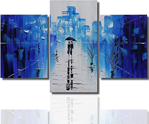 Joy Art 3-piece Rainy Street Painting Stretched Hand-painted Modern Canvas Wall Art Ready to Hang