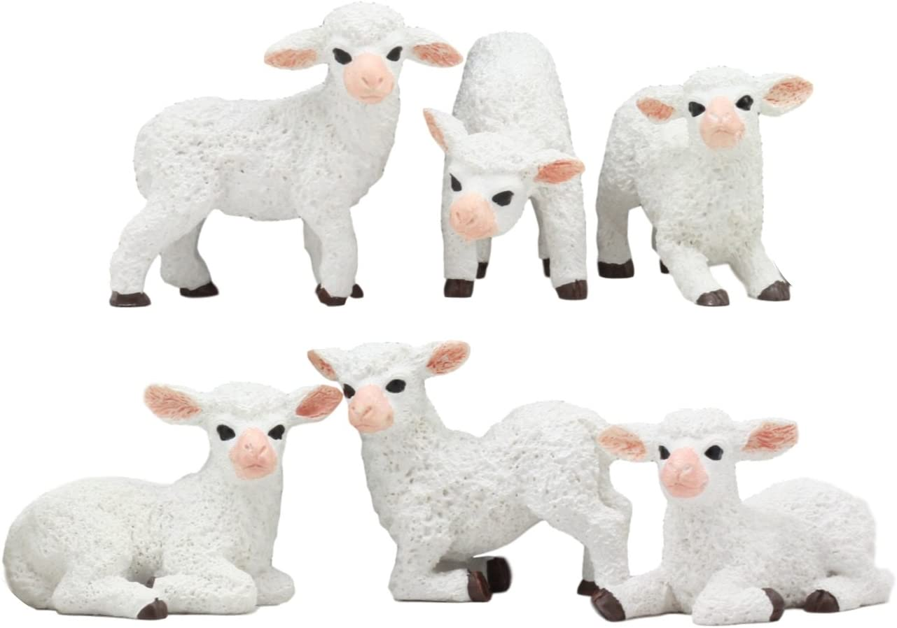 Little Lamb Farm Wood Figurine Baby Goat Ewe Domestic Miniature Barn Sheep