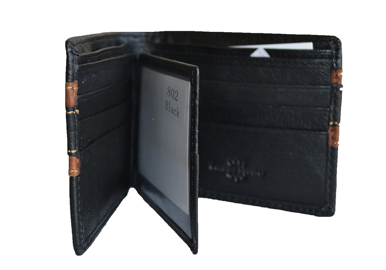 men black brown genuine leather bifold hipster id wallet