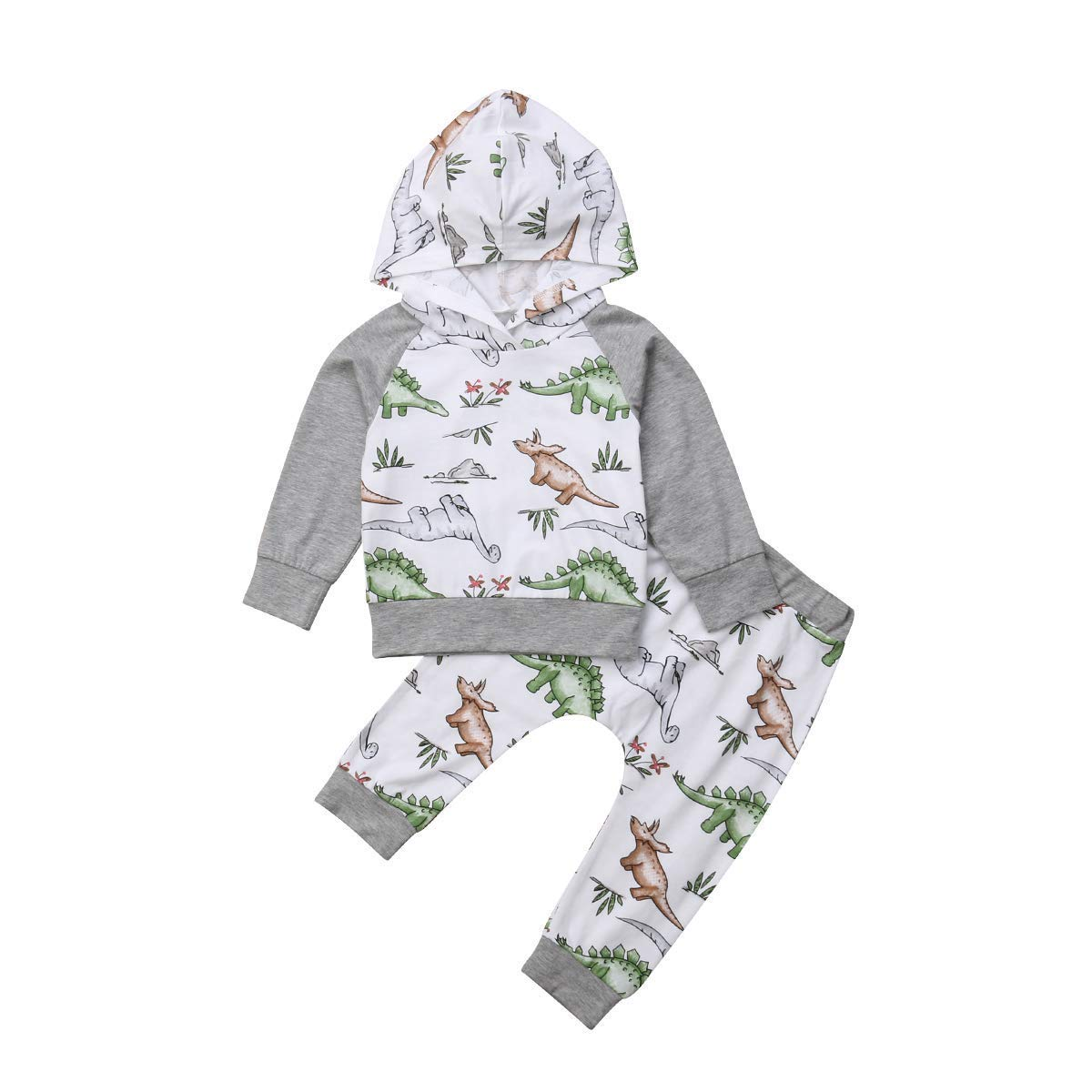 Toddler Infant Baby Boys Clothings Set,Dinosaur Printed Long Sleeve Hoodie Tops Sweatsuit Pants Outfit Sets