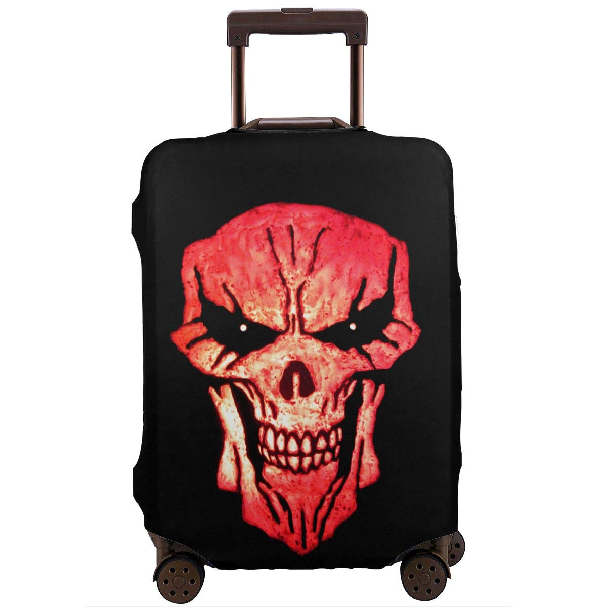 Skull Art Elastic Travel Luggage Cover,Double Print Fashion Washable Suitcase Protector Cover Fits 18-32inch Luggage