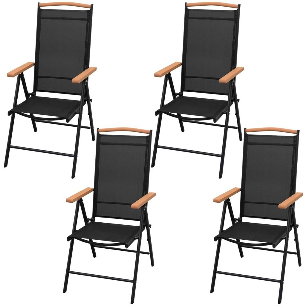 Jardin Tidyard Table de Jardin dext/érieur 5 pcs Aluminium WPC pour Salon Patio Noir et Marron 80 x 80 x 74 cm