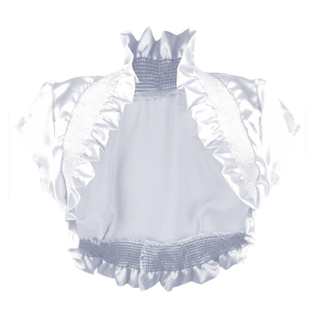 Imagenation Charmeuse Satin Short Sleeve Shrug Bolero, Medium, White