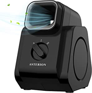 ASTERION Bladeless Air Circulator Fan, Diffuser Table Fan with Strong Airflow Quiet Operation, Portable Desk Fan with 2 Speed Settings, Perfect for Home Office Bedroom, 8 Inch