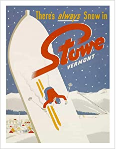 Stowe Vermont Ski Poster - 22 x 28 inches, Comes in 2 Sizes