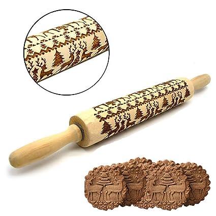 Christmas Embossing Engraved ELK Rolling Pin Baking Cookies Biscuit Fondant Cake