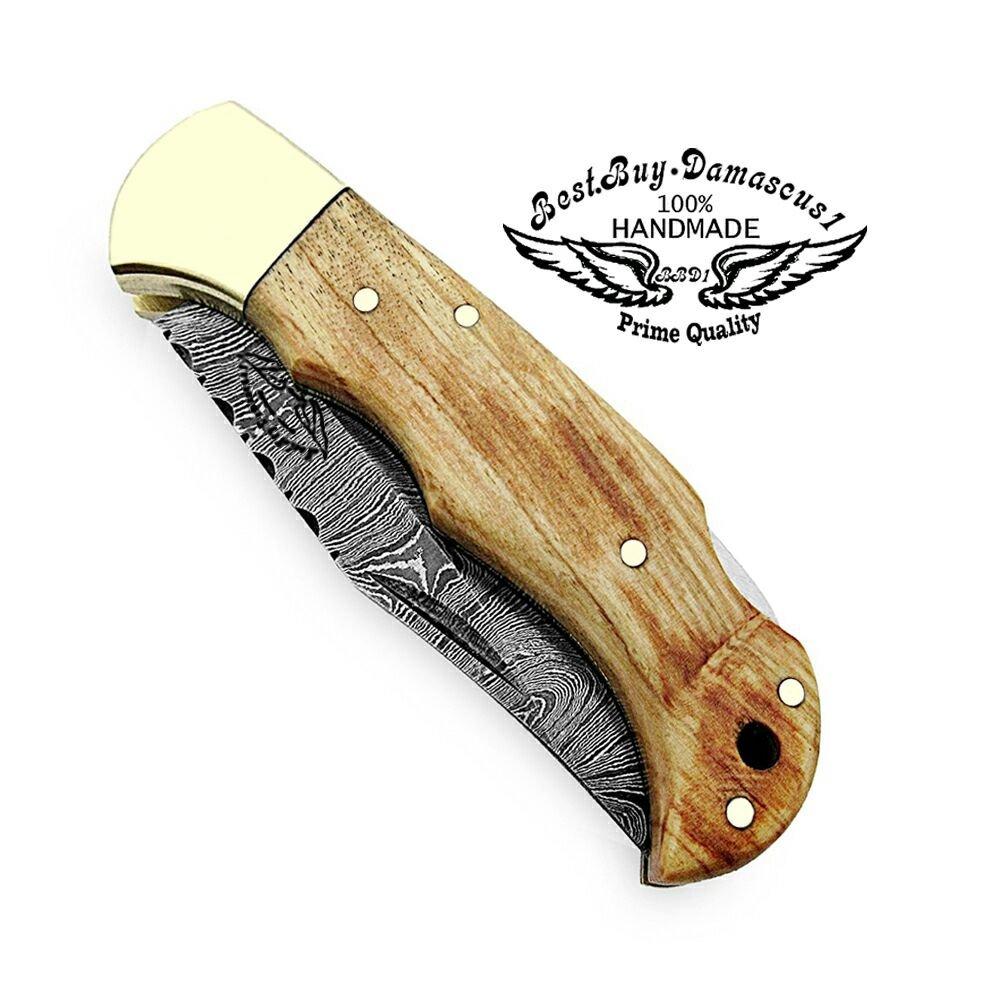 Pocket Knife Olive Wood 6.5'' Damascus Steel Knife Brass Bloster Back Lock Folding Knife + Sharpening Rod Pocket Knives 100% Prime Quality+ Buffalo Horn Small Pocket Knife + Damascus Knife by Best.Buy.Damascus1 (Image #3)